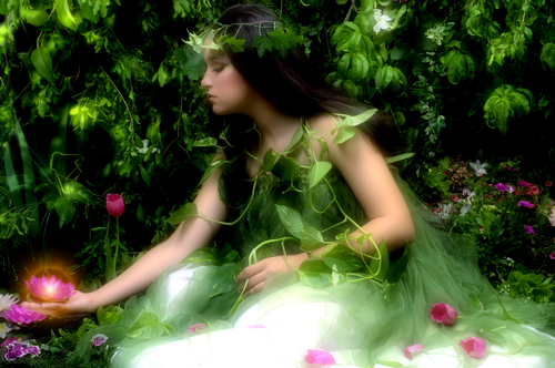 Fairy in Forest - green with flowers