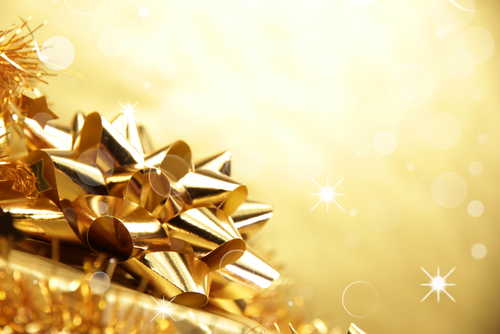 Picture of Golden Gift Wrapping. Dream Symbol.