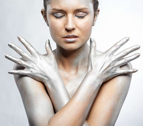 Woman painted Silver