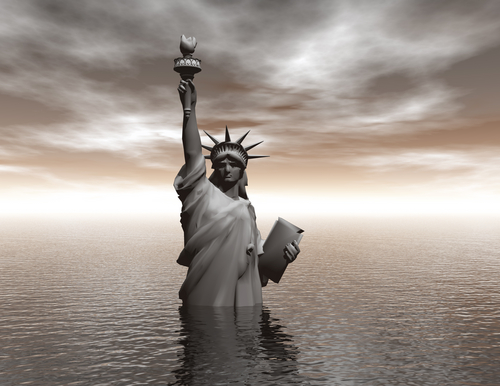 Statue of Liberty in water flood